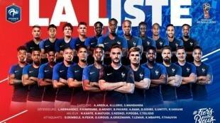 L'équipe française pour Mondial 2018 en Russie