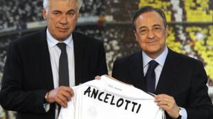 Carlo Ancelotti tare da shugaban Real Madrid Florentino Pérez.