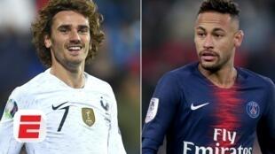 Sabon dan wasan Barcelona Antoine Griezmann da Neymar, tsohon dan wasan kungiyar.