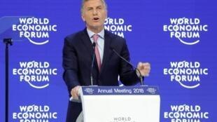 Mauricio Macri discursa no Fórum Econômico de Davos em 25 de janeiro de 2018.