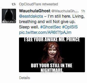 Capture d'écran compte Twitter d'un Anonymous qui interpelle EastDakota, le compte du PDG de Cloud Flare.