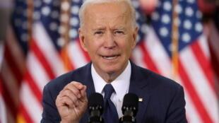 Le président américain Joe Biden au Carpenters Pittsburgh Training Center à Pittsburgh, Pennsylvanie, États-Unis, le 31 mars 2021.