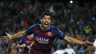Luis Suarez (Barcelone) après son but contre Bayer Leverkusen, le 29 septembre 2015.