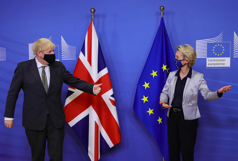 Britain's Prime Minister Boris Johnson (L) met European Commission President Ursula von der Leyen in Brussels on Wednesday but the pair did not find a breakthrough