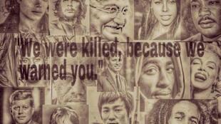 Une illustration mise sur Facebook par l'équipe d'AWD News. Théorie du complot grossière: on y apprends que Mickael Jackson et Bob Marley ont été «tués pour nous avertir».