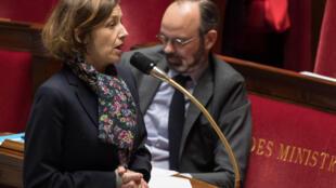 La ministra de Defensa francesa, Florence Parly, el 24 de marzo de 2020 en la Asamblea Nacional, en París