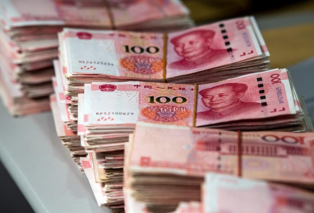 Des coupures de 100 yuans, prises ici dans une banque de Shanghai.