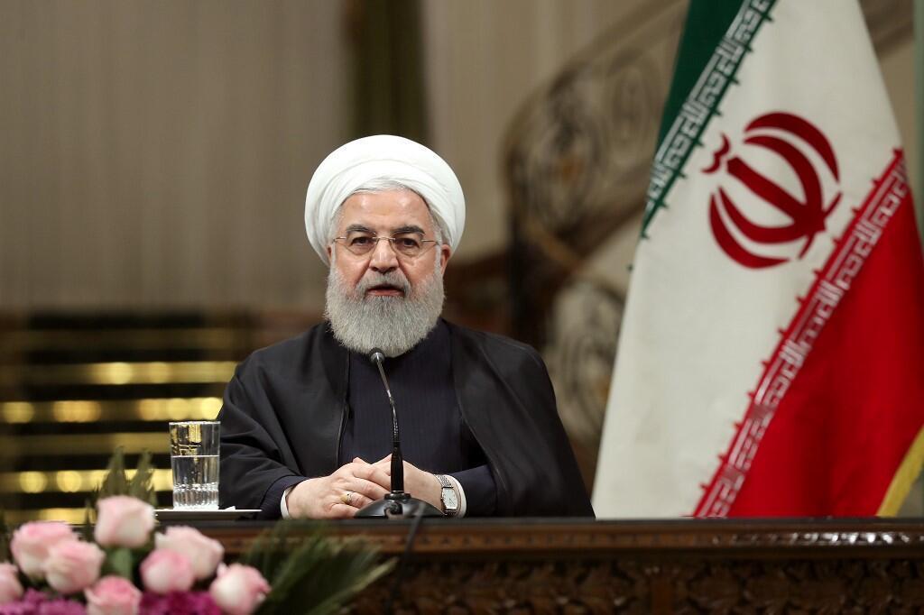 Le président iranien Hassan Rohani lors d'une conférence de presse à Téhéran le 22 avril 2019.