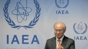 Mkuu wa Shirika la Nguvu za Atomiki Duniani IAEA Yukiya Amano akihutubia kutoka Makao Makuu ya Shirika hilo huko Vienna