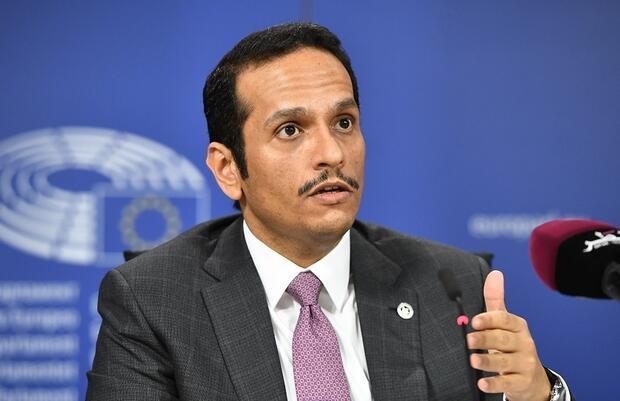 شیخ محمد بن عبدالرحمان آلثانی، وزیر امور خارجه قطر، در موسسه مطالعات بینالمللی فرانسه