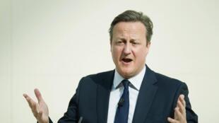Le Premier ministre britannique lors de son discours prononcé au British Museum à Londres, lundi 9 mai 2016.