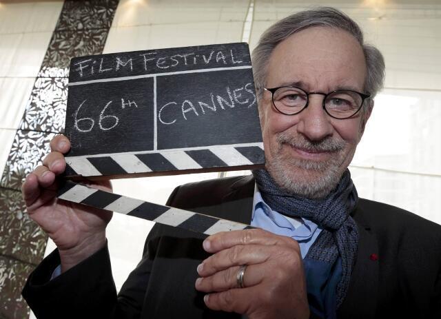O diretor norte-americano Steven Spielberg preside chegou nessa quinta-feira em Cannes, onde preside o juri da 66ª edição do festival de cinema.