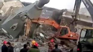 Nhà thờ Tin Lành Kim Đăng Đài (Jindengtai) bị đặt chất nổ phá sập hôm 09/01/2018.