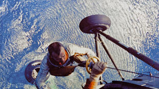 Alan Shepard, first US astronaut to travel to space, being collected by helicopter after his landing in the Atlantic Ocean on May 5, 1961