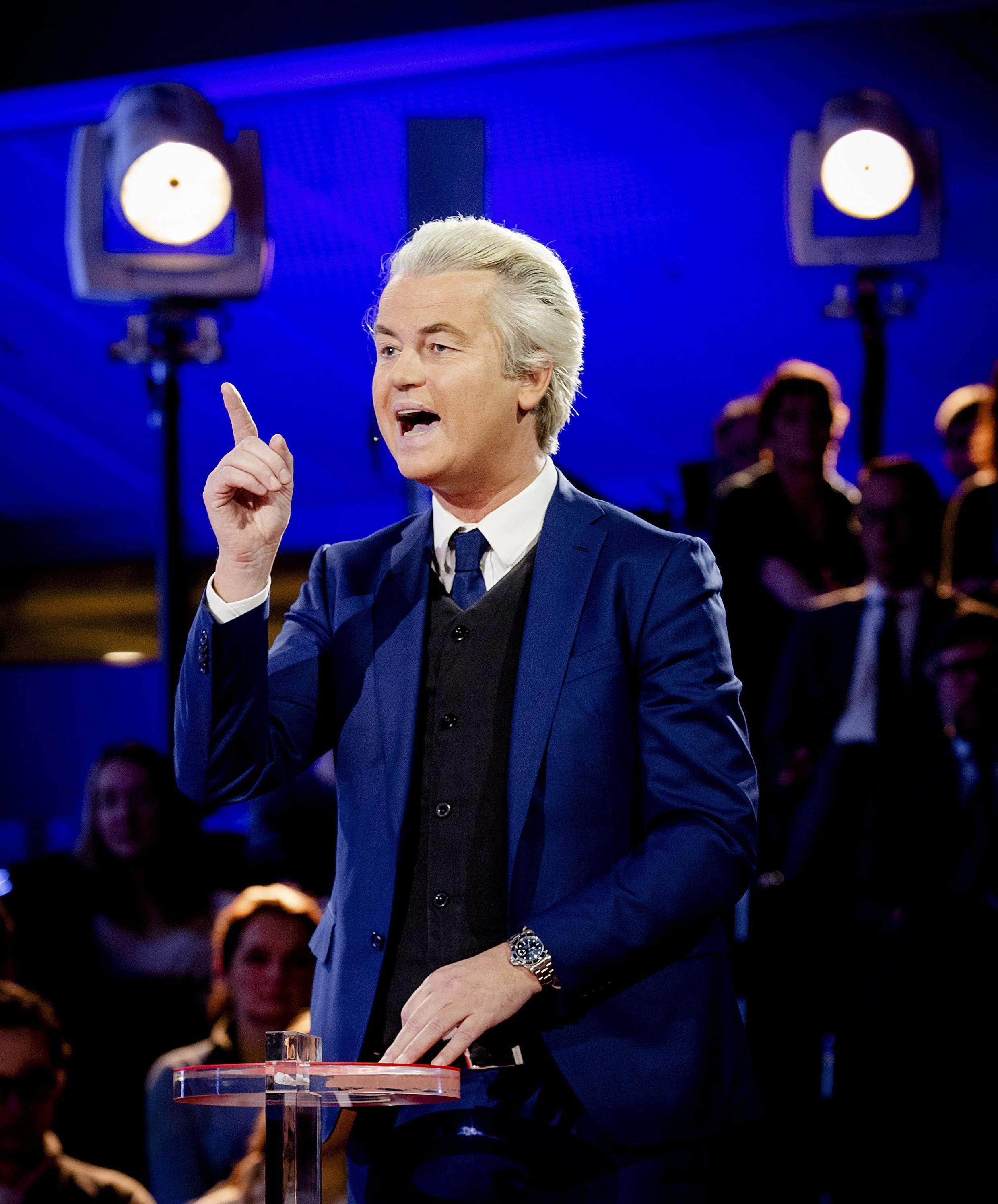 Le leader du Parti pour la liberté (PVV), le Hollandais Geert Wilders, le 14 mars 2017 à La Hague.