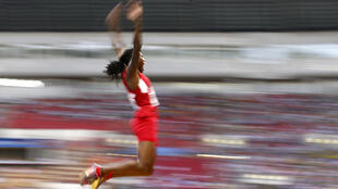 Brittney Reese competes during the women's long jump final at the Luzhniki stadium