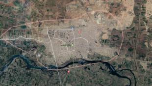 Vista satelital de la ciudad de Raqa, Siria.