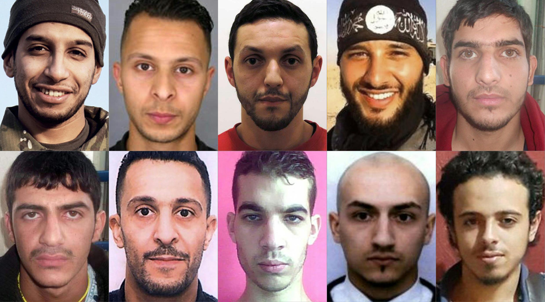Suspeitos responsáveis pelos atentados de Paris e Bruxelas.
