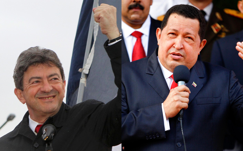 O líder radical de esquerda da França, jean-Luc Mélenchon (à esq.) diz se inspirar em Hugo Chávez e apoia a sua reeleição.