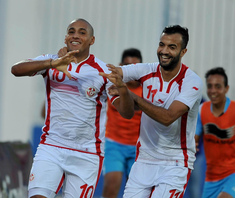 Les Tunisiens Wahbi Khazri et Taha Khenissi (à droite) ont contribué à la treizième qualification de suite des Aigles de Carthage pour une Coupe d'Afrique des nations.