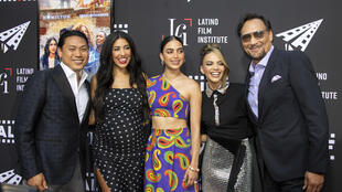 """(L-R) Director Jon M. Chu, Actors Stephanie Beatriz, Melissa Barrera, Leslie Grace and Jimmy Smits attend a preview screening of """"In The Heights"""""""