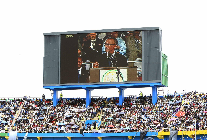 Rwandan President Paul Kagame shown on a big screen in Kigali's Amahoro stadium, 7th April 2014.