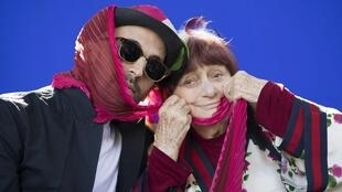 Artist JR and film director Agnès Varda attend the post Oscars reception honoring the French nominees on 5 March 2018.