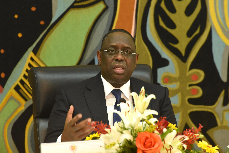 Le président sénégalais Macky Sall lors d'une conférence de presse le 17 mars dernier à Dakar.