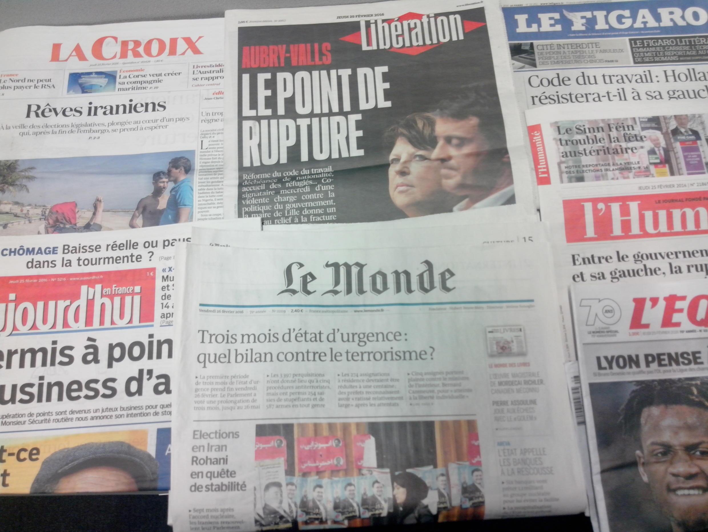 Primeiras páginas dos jornais franceses de 25 de fevereiro de 2016