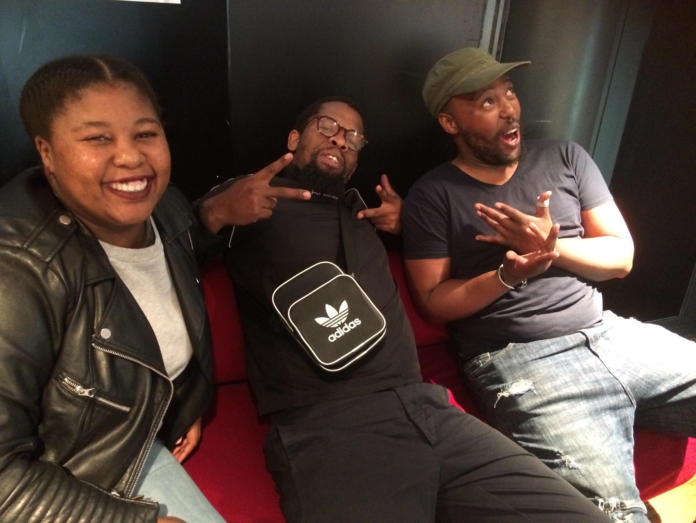 BCUC L to R Kgomotso neo Mokone, 'Jovi' Zabani Nkosi, Letlhogonolo Atlarelang Maphunyeoupe before playing Jazz à la Villette on 30 August 2018