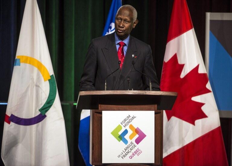L'ancien président sénégalais Abdou Diouf, secrétaire général de la Francophonie, lors de la cérémonie d'ouverture du Forum Mondial de la langue française à Québec le 2 Juillet 2012.