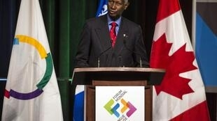 General secretary of the International Organization of La Francophonie, Abdou Diouf, speaking at the World forum of the French language in Quebec, 2012