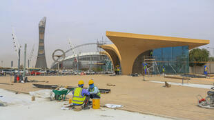 Une station de métro en construction dans le cadre des préparatifs de la Coupe du monde de football 2022, le 11 avril 2019, à Doha, au Qatar.