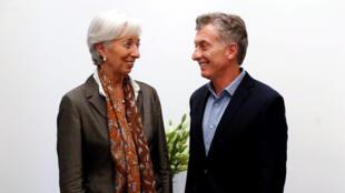 Le président argentin Mauricio Macri et la directrice générale du FMI, Christine Lagarde, le 16 mars 2018 à Buenos Aires.