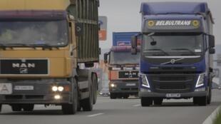 Des camions bulgares sur le périphérique de Sofia le 13 mai 2019 (image d'illustration).