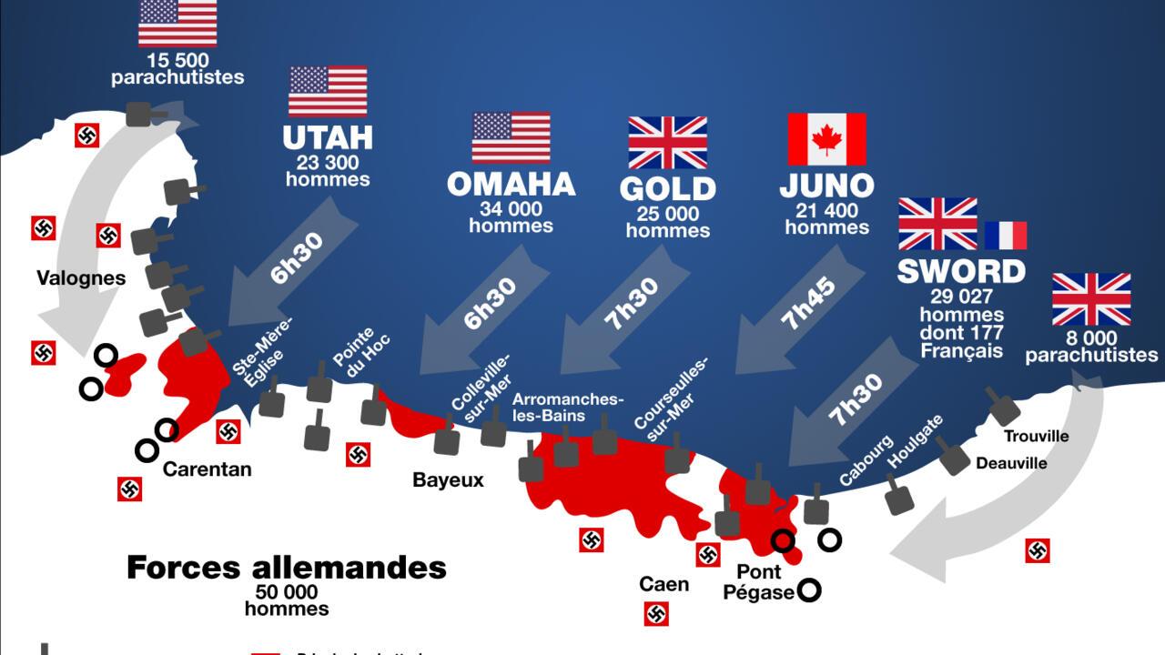 Infographie Debarquement De Normandie Le D Day Heure Par Heure