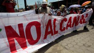 Manifestation d'opposants au canal interocéanique Atlantique-Pacifique, sur l'île d'Ometepe, sur le lac Nicaragua, le 15 juillet 2017.