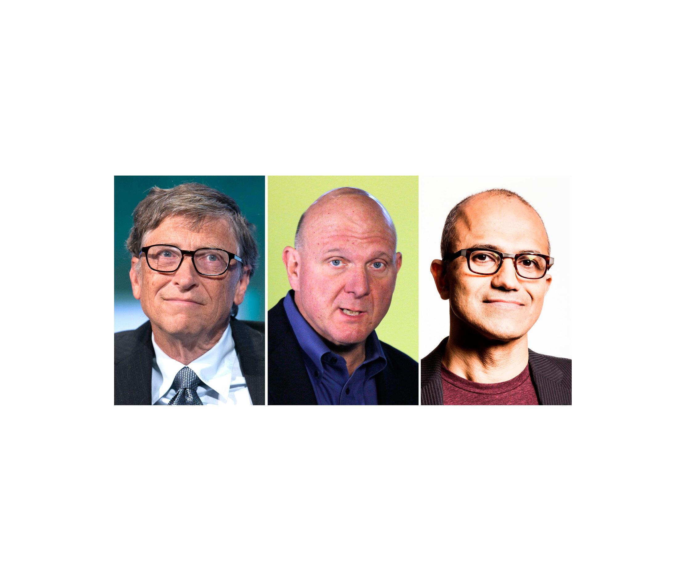 ពីឆ្វេងទៅស្តាំ៖ លោក Bill Gates ស្ថាបនិកក្រុមហ៊ុន, លោក Steve Ballmer អតីតអគ្គនាយក និងលោក Satya Nadella អគ្គនាយកដែលទើបនឹងតែងតាំងថ្មី