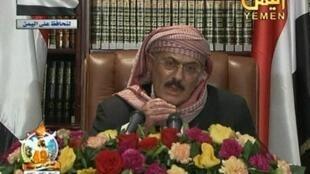 Ali Abdallah Saleh addresses the nation last Sunday