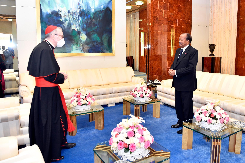 President Paul Biya meets with Cardinal Pietro Parolin in Yaoundé, 29 January 2021.