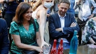 Socialist Mayor of Paris Anne Hidalgo (L) with leader of Greens, David Belliard in Paris 2 June 2020
