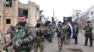 Tropas   sírias na  cidade de Salma. 16 de Janeiro  de 2016
