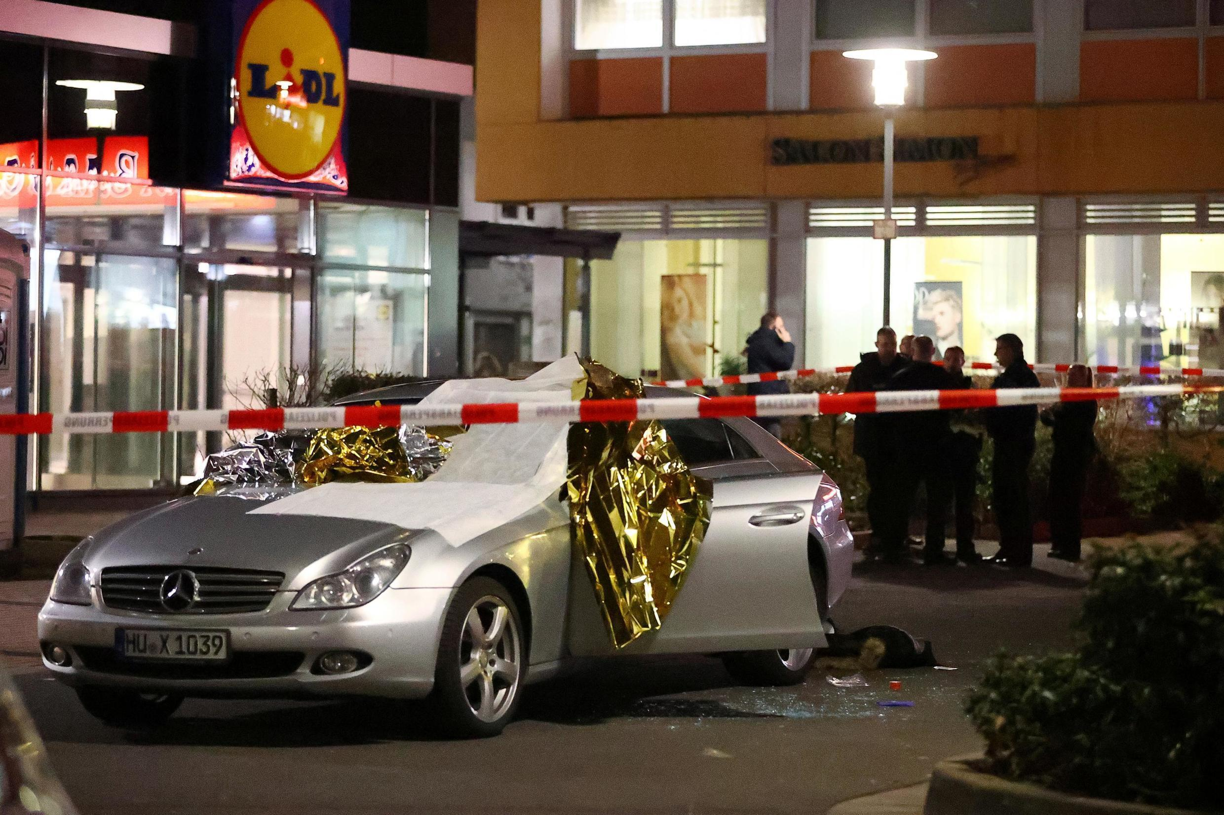 A vehicle damaged in one of the shooting incidents in the German city of Hanau, 19 February 2020.