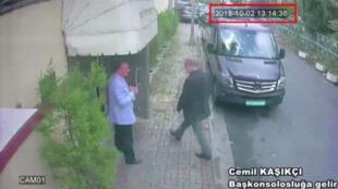 Captura de vídeo da CCTV mostra chegada do jornalista saudita Jamal Khashoggi ao consulado da Arábia Saudita em Istambul na Turquia, em 02/10/18