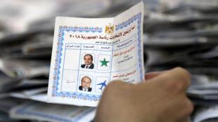 Kiểm phiếu tại một phòng bỏ phiếu ở thủ đô Cairo, Ai Cập, ngày 28/03/2018