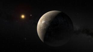 El planeta Proxima b en la órbita de la estrella Proxima Centauri.
