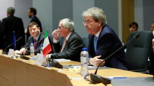(Photo d'illustration) Le président du Conseil italien Paolo Gentiloni, lors d'une réunion à Bruxelles le 14 décembre 2017.