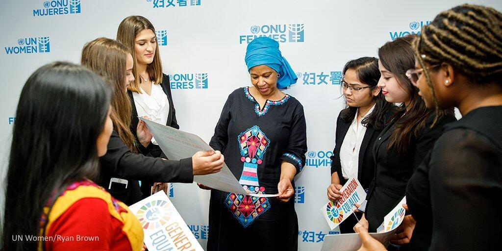 UN Women director Phumzile Mlambo meets girls at the UN headquarters in New York.