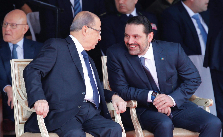 Saad Hariri (à direita) e Michel Aoun em Beyrouth hoje