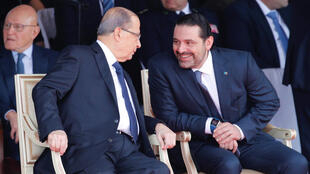 El primer ministro libanés Saad Hariri junto al presidente Michel Aoun. Beirut, el 22 de noviembre de 2017.